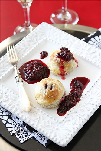 Puff Pastry Pockets with Gingersnap Mascarpone & Marionberry Sauce ...