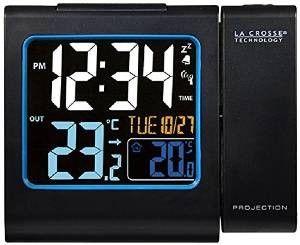 Reloj despertador La Crosse Technology WT552 negro. Despiértese relajadamente con la proyección de la hora y vea las informaciones en su pantalla de color las temperaturas interna / exterior.