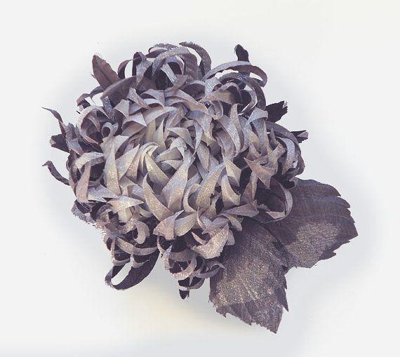 Purple-Grey+fabric+flower+brooch%2C+bridal+brooch+%2C+flower+for+sash%2C+flower+hair+clip%2C+mother+of+a+bride+brooch%2C+grey+silk+flower.