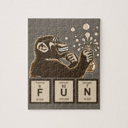 Chemistry monkey discovered fun jigsaw puzzle - home gifts ideas decor special unique custom individual customized individualized