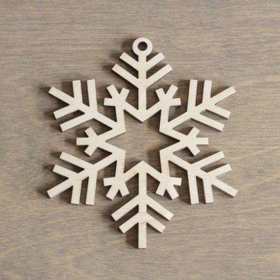 Madera copo de nieve 10 cm Navidad decoración de corte láser - n.6 envío gratis