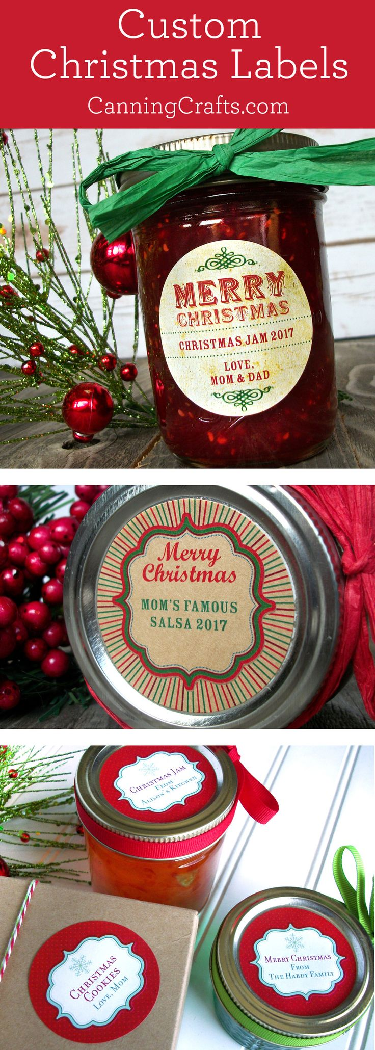 Custom Christmas canning jar labels stickers printed with YOUR text. CanningCrafts.com #canning #foodpreservation
