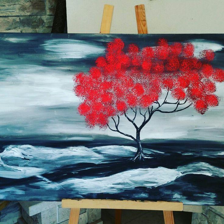 Red tree acryl