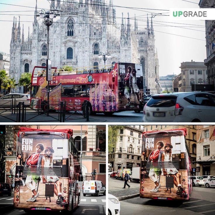 Fun & Fun - Milano - Bus #funefun #funfun #abbigliamento #moda #italia #milano #adv #advertising #media #bus www.upgrademedia.it