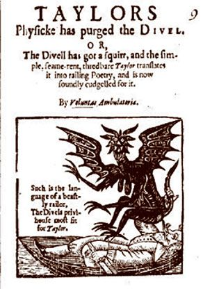 old English pamphlet with Jersey Devil image