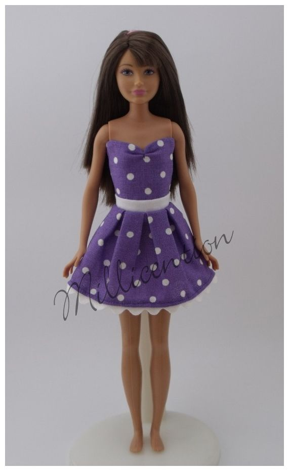 Purple-white polka dot top & skirt for Skipper dolls