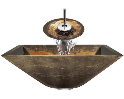 A29 Foil Undertone Glass Vessel Sink, Ensembles Starting at $231 | This glass vessel sink and matching waterfall faucet features a foiled golden knot pattern which is reminiscent of baroque style