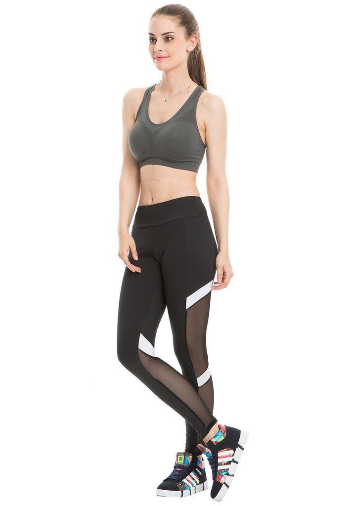 a354d58495 Women Yoga Leggings Mesh-Insert Stretchy Workout Pants   Yoga Leggings   Mesh  yoga leggings, Yoga leggings, Yoga
