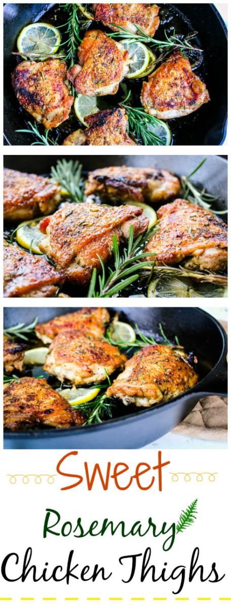 Sweet Rosemary Chicken Thighs |  This recipe turns out best when using the cast iron skillet. @Yuminyourtum888
