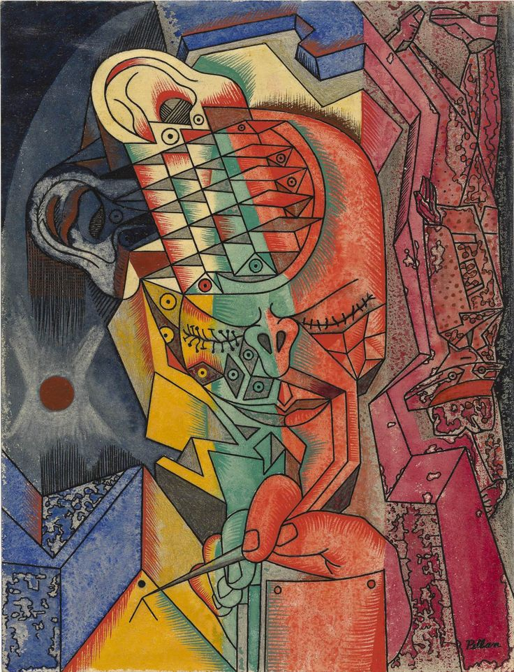 Alfred Pellan, L'Homme A Grave, Gouache et encre sur papier, 29,8 x 22,8 cm