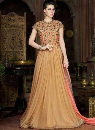 Buy Beige Embroidery Work Stone Work Long Net Party Wear Gown Online