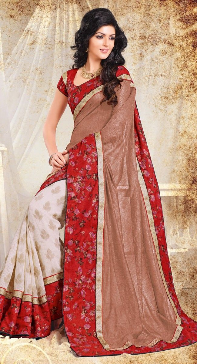 Brown and Off-White color Half And Half Saree-Chiffon Embroidered #Saree