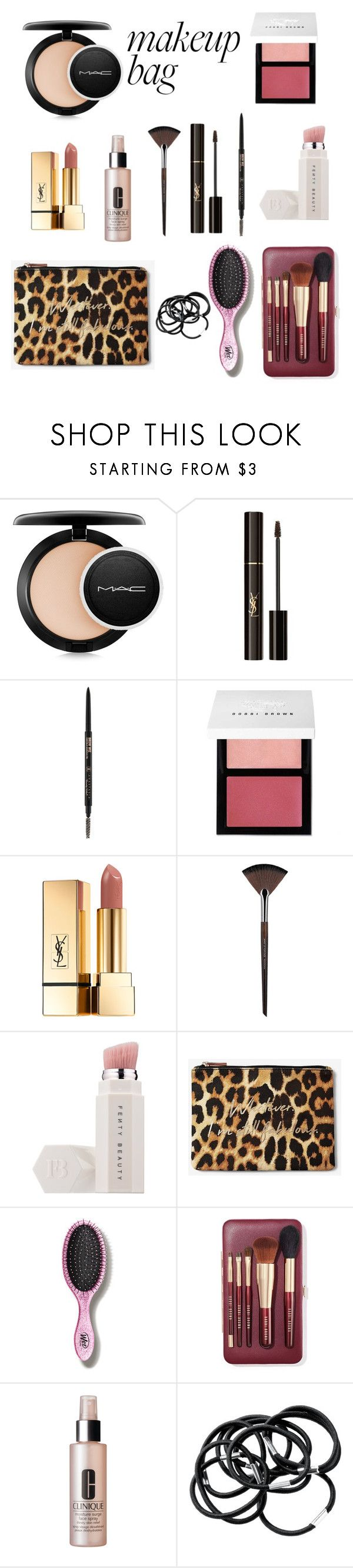 """""""Beauty-Emergency"""" by kirey-louise ❤ liked on Polyvore featuring beauty, MAC Cosmetics, Yves Saint Laurent, Anastasia Beverly Hills, Bobbi Brown Cosmetics, MAKE UP FOR EVER, Puma, Express, The Wet Brush and Clinique"""