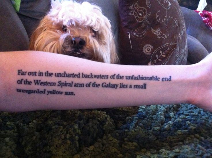 Hitchhiker's Guide to the Galaxy tattoo + awesome dog