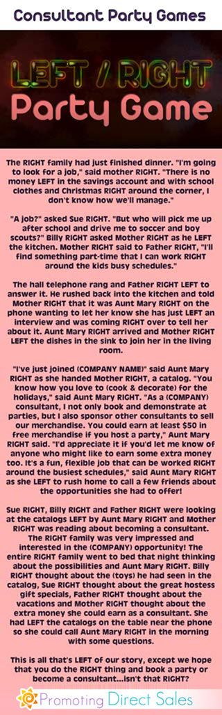 Left Right Game - Left/Right Party Games this is in the story of a family, but is also about direct sales or MLM companies.