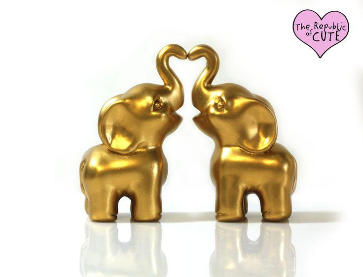 Elephant Wedding Cake Topper Set (short & cute style!)