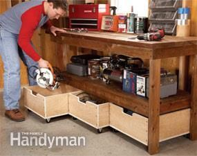 Upgrade any workbench with these DIY enhancements. 7 simple projects enhance functionality and increase the storage capacity of your workbench. Most can be built in a day; some in less than 15 minutes!