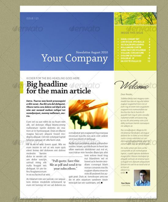 Best Newsletter Templates Images On   Newsletter