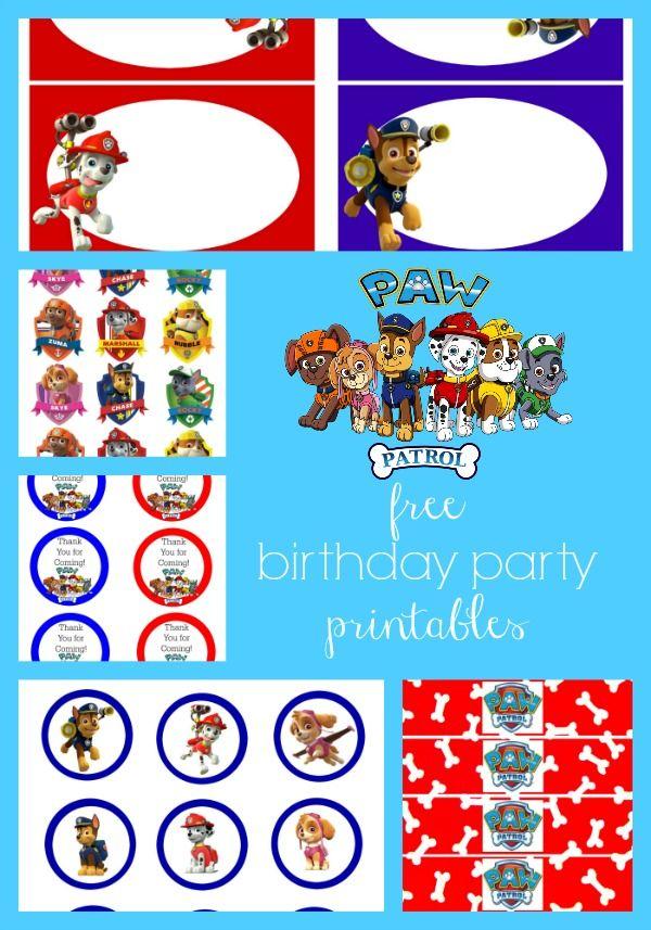 Paw Patrol Free Birthday Party Printables