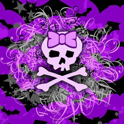 Purple Girly Skull Poster By Roseanne Jones