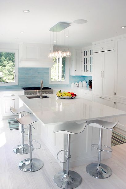 Love the backsplash!!    The Granite Gurus: Whiteout Wednesday: White Kitchens Volume 6