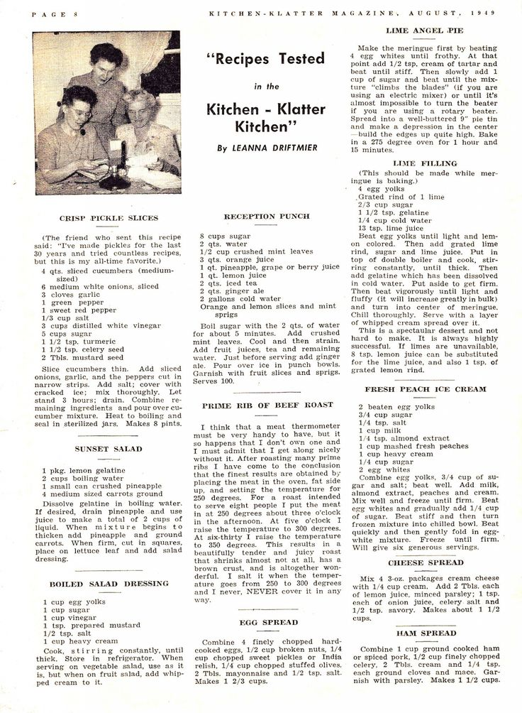 Kitchen Klatter Magazine, August 1949 - Crisp Pickle Slices, Sunset Salad, Boiled Salad Dressing, Reception Punch, Prime Rib Roast, Egg Spread, Lime Angel Pie, Lime Filling, Peach Ice Cream, Cheese Spread, Ham Spread