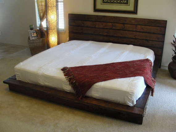 This platform bed is a combination of modern design with a beautiful   rustic touch  It is built out of solid wood  and has a mixture of wood  finishes. 86 best images about Custom Wood Bed Ideas on Pinterest