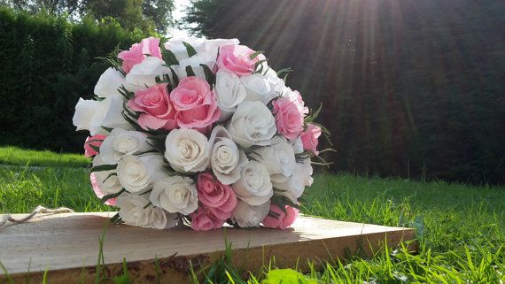 Bride Bouquet Wedding Paper Flowers Paper Roses by moniaflowers