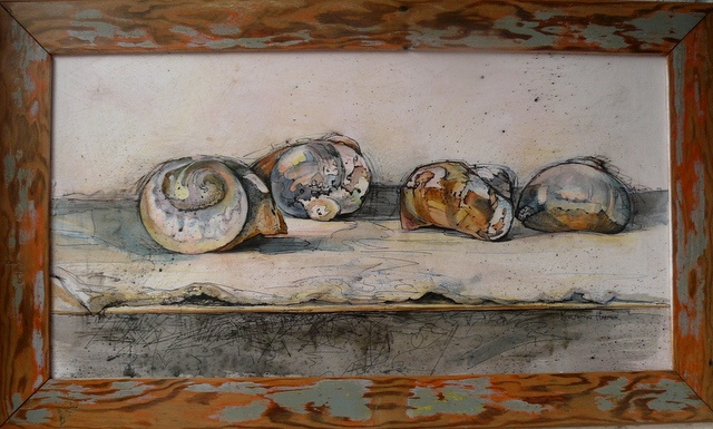 Artist: Kathryn Harmer Fox Title: Cockle Shells on a Felted Shelf. Mixed media.  Pen and ink, graphite, coloured pencil, charcoal on paper with reclaimed wood frame.