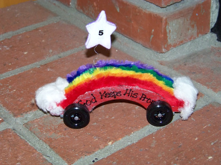 Awana Grand Prix car, this took first place for Christian Theme in 2009.  Idea came from our then Kindergarten girl.  She did most of the work on this.
