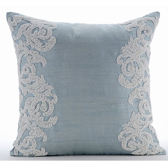 Luxury Light Blue Throw Pillows Cover 16 Quot X16 Quot Silk