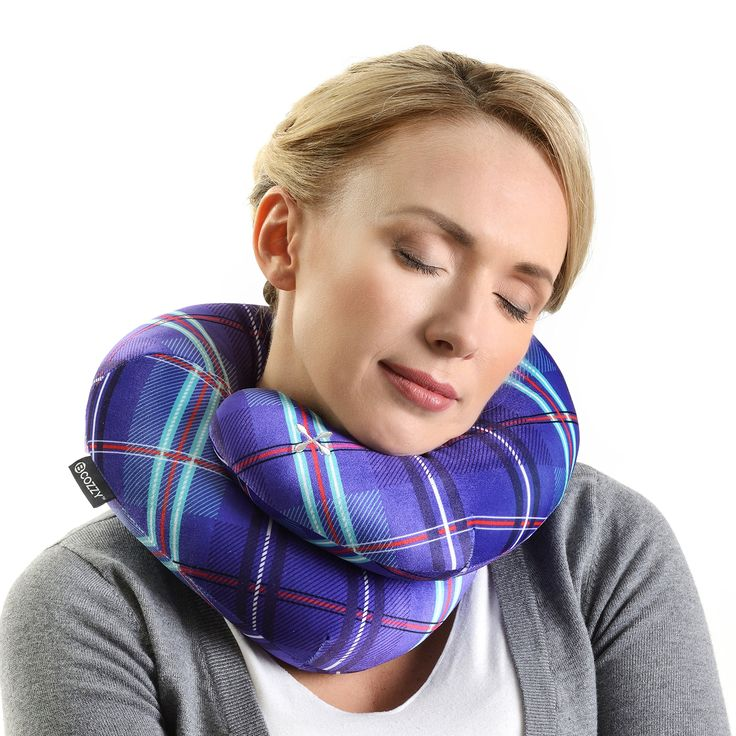 BCOZZY Plaid- Chin Supporting Travel Pillow - NEW - 2018 Collection. Supports the Head, Neck and Chin in Maximum Comfort in Any Sitting Position. A Patented Product. Adult Size, Slate Blue