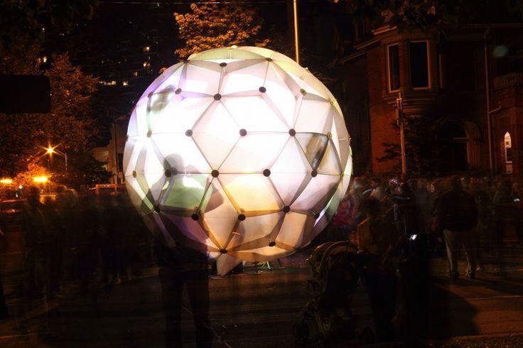 Nuit Blanche Toronto 2013: HYBRID GLOBE, Arthur Wrigglesworth, Mohammad. Interactive installation on Queen's Park Cres.