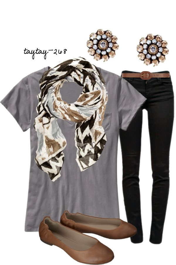 My take: grey v neck shirt,black skinnys,brown flats or leap ore flats,gold and white antique flower earrings,leap ire scarf.