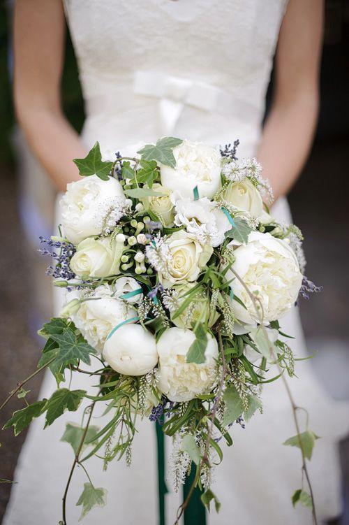 Stunning white peony wedding bouquet
