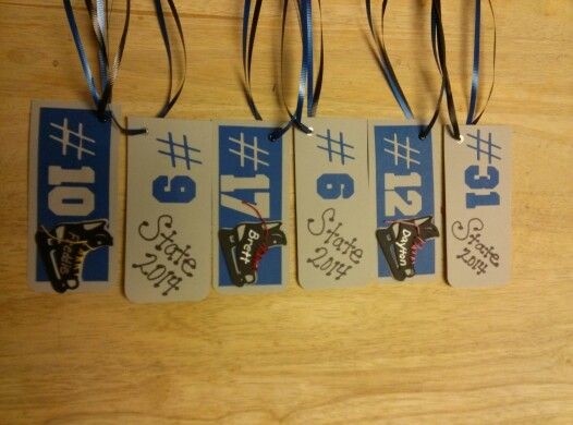 Tags for goodie bags at state hockey tourney