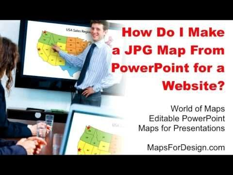 How to make a JPG file from a PowerPoint Slide. This how to video shows you how to take one of our downloadable, editable MapsForDesign.com PowerPoint clip art maps and convert it to a JPG graphic that you can use on your website or blog.  from http://www.mapsfordesign.com