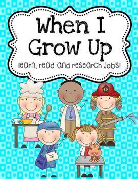 When I Grow Up Job Research Project - Angela Rubin - TeachersPayTeachers.com