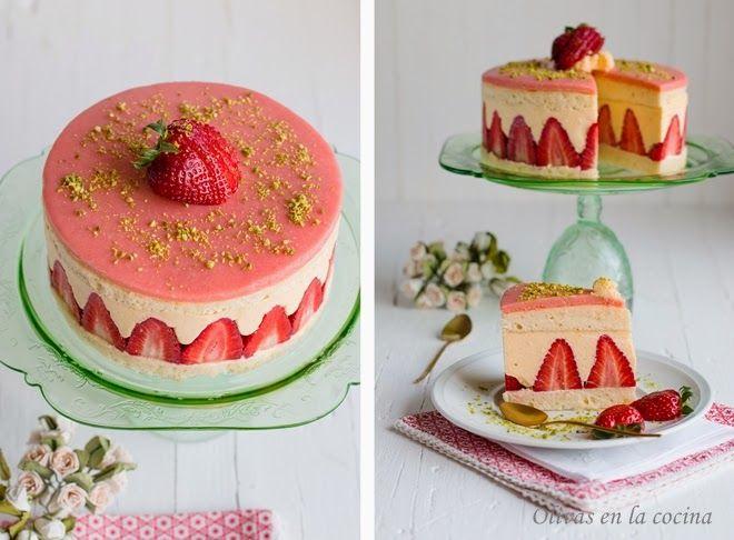 Tarta Fraisier. El corte de esta tarta es espectacular. Además es una tarta deliciosa.