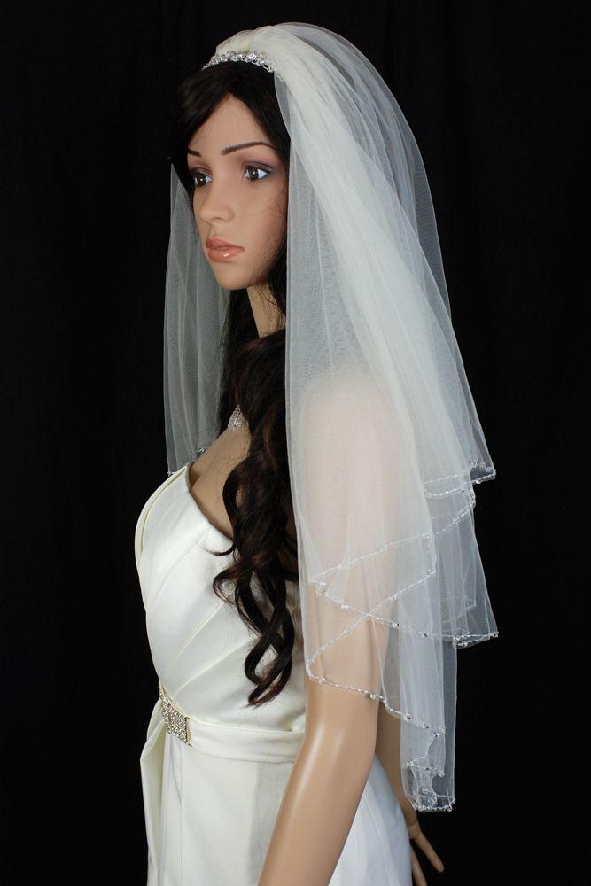 Bridal Veil Diamond (Off) White 2 Tiers Fingertip Length Edge Trimmed In Beads  $48.53