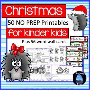 Christmas Fun! 50 No Prep Printables and 56 Word Wall cards! $