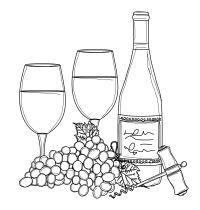 member's free wine bottle and glasses digital stamp set