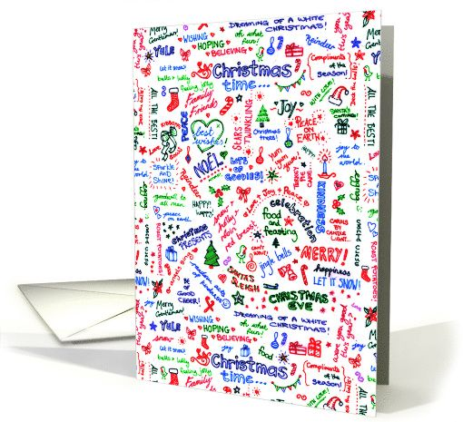 Merry Christmas, cute hand drawn doodle / graffiti typography card