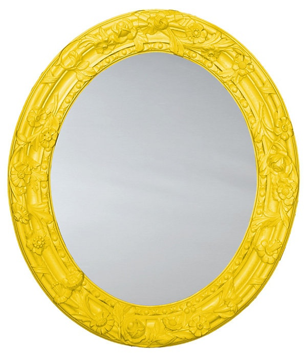 One Kings Lane - The Whimsical Wall - Bouquet Oval Mirror, Yellow