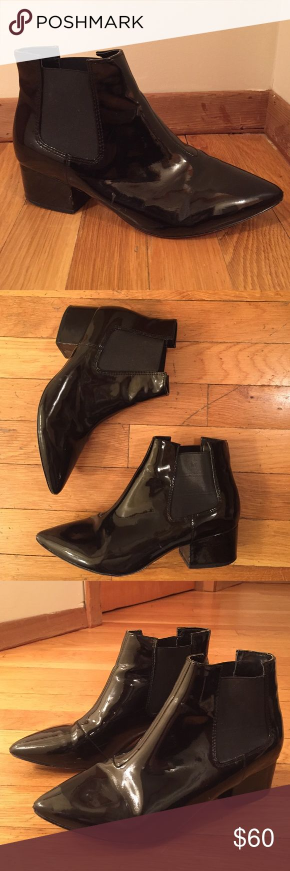 French Connection Black Patent Leather Booties French Connection Black Patent Leather Booties. Super comfortable. Size 6. Slight wear on points of shoes and one scuff along the side. French Connection Shoes Ankle Boots & Booties