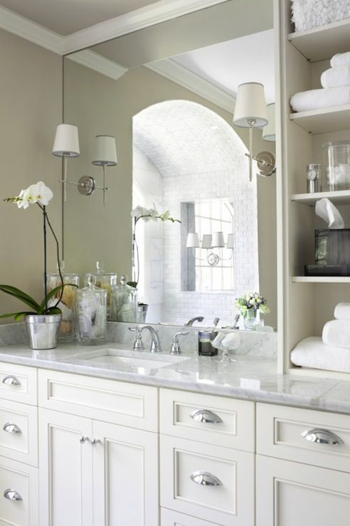 Mark Williams Design - bathrooms - Thomas O'Brien Bryant Sconce, bryant sconce, white bathroom cabinets with white carrera marble countertop...