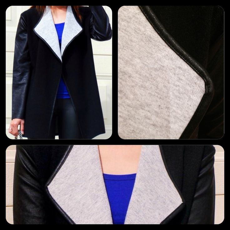 Amazing two tone jacket with PU leather sleeves and trim to all edges.  Beautifully soft and incredibly warm for these chilly days - yours for AUD$45 + P&H or free pick up from Parkdale, Victoria. 55% polyamide, 40% acrylic, 5% angora