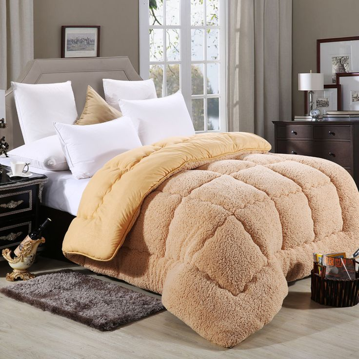 Quilts polyester patchwork duvets wool Warm camel quilt Thicken duvets winter comforter high quality