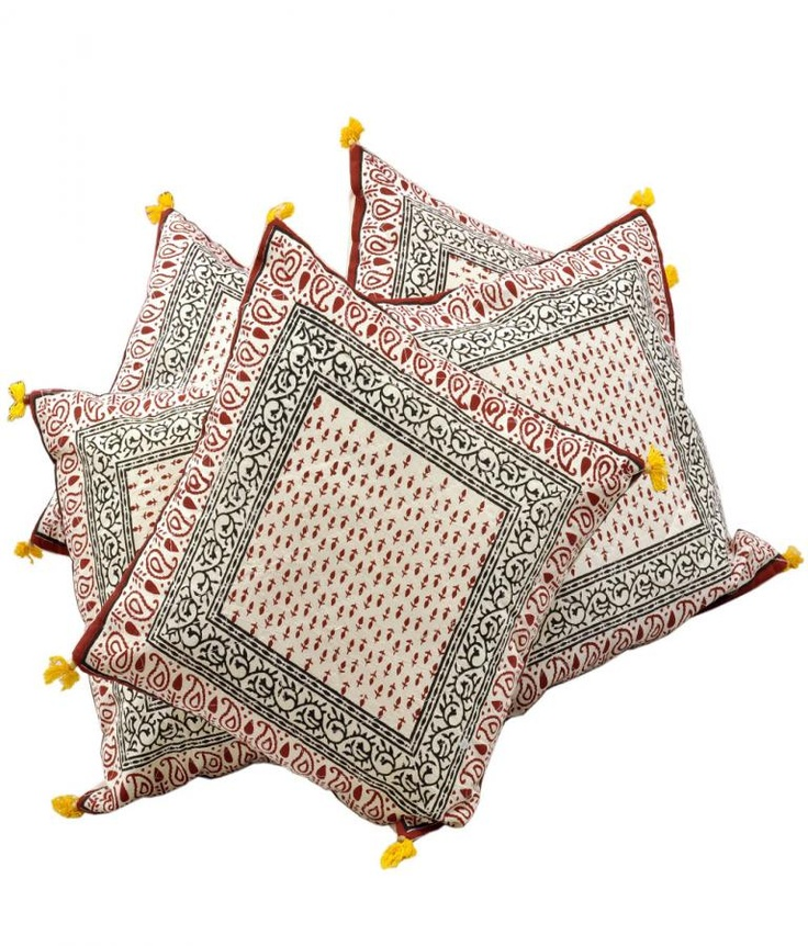 Cushion Covers  Ethnic Handblock Printed Cotton Cushion Cover  Offer Price Rs.678/-