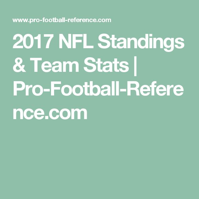 2017 NFL Standings & Team Stats | Pro-Football-Reference.com